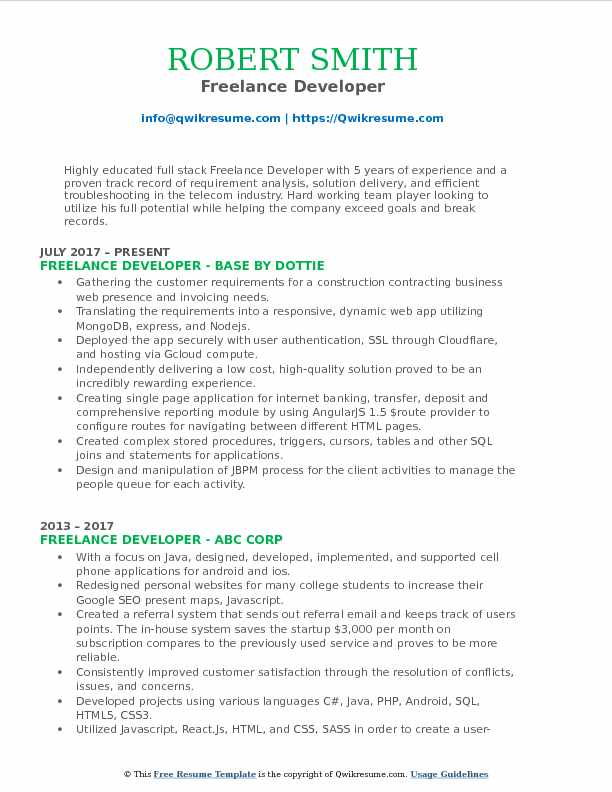 Freelance Developer Resume Model