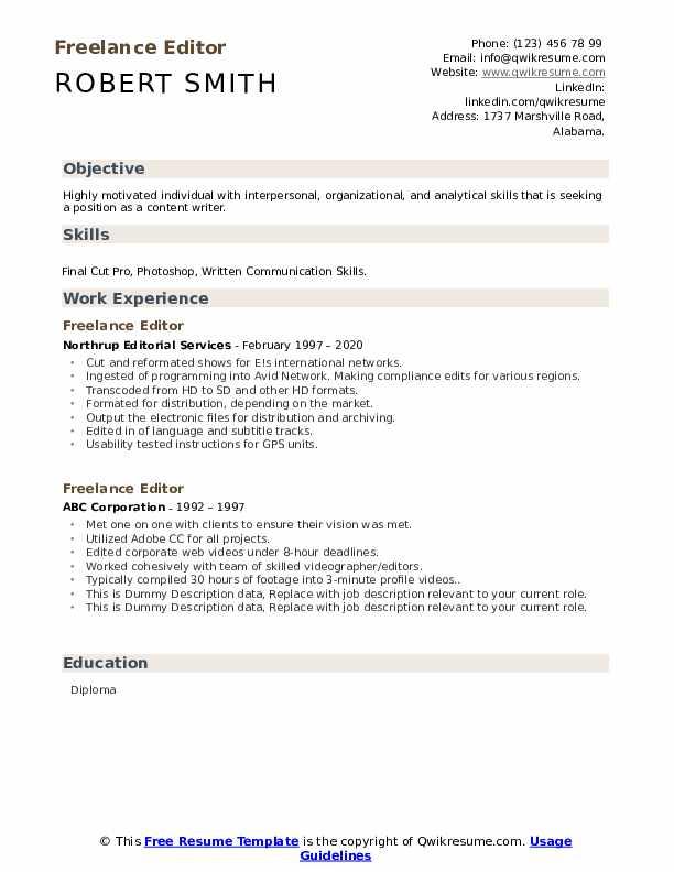 Freelance Editor Resume example