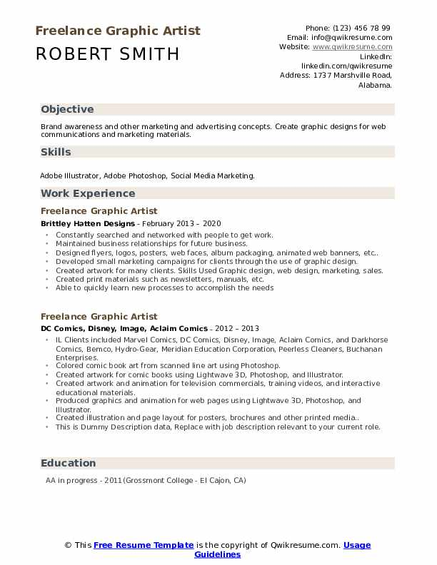 Freelance Graphic Artist Resume example