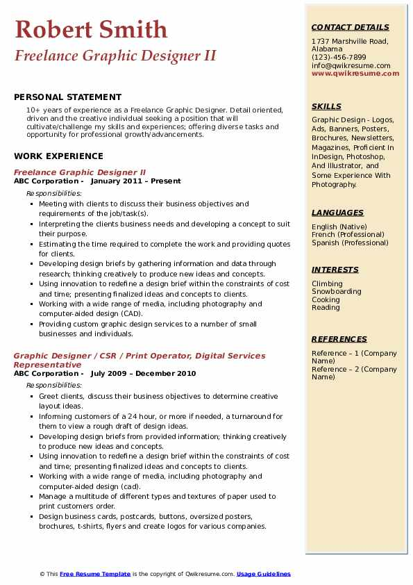 Freelance Graphic Designer Resume Samples Qwikresume