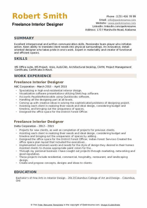 Freelance Interior Designer Resume example