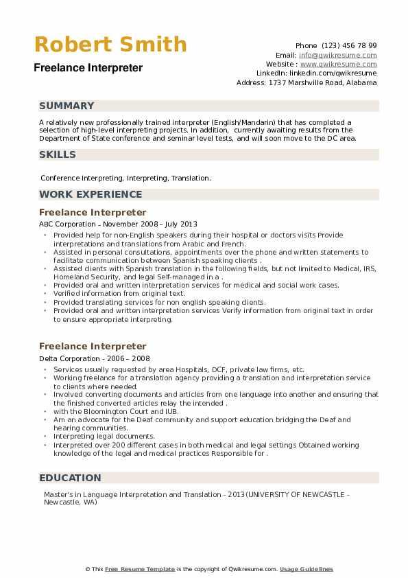 Freelance Interpreter Resume example