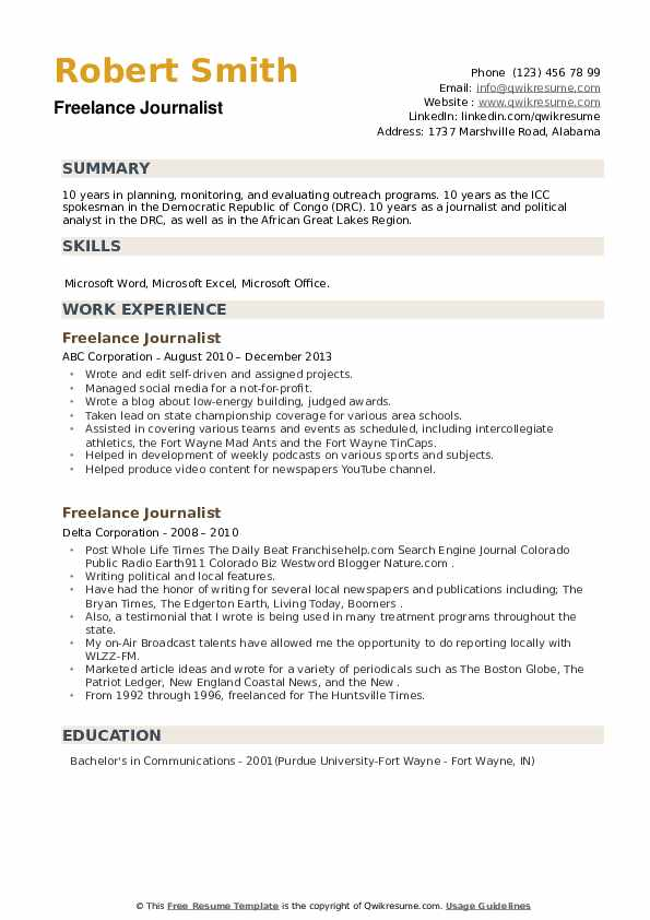 Freelance Journalist Resume example