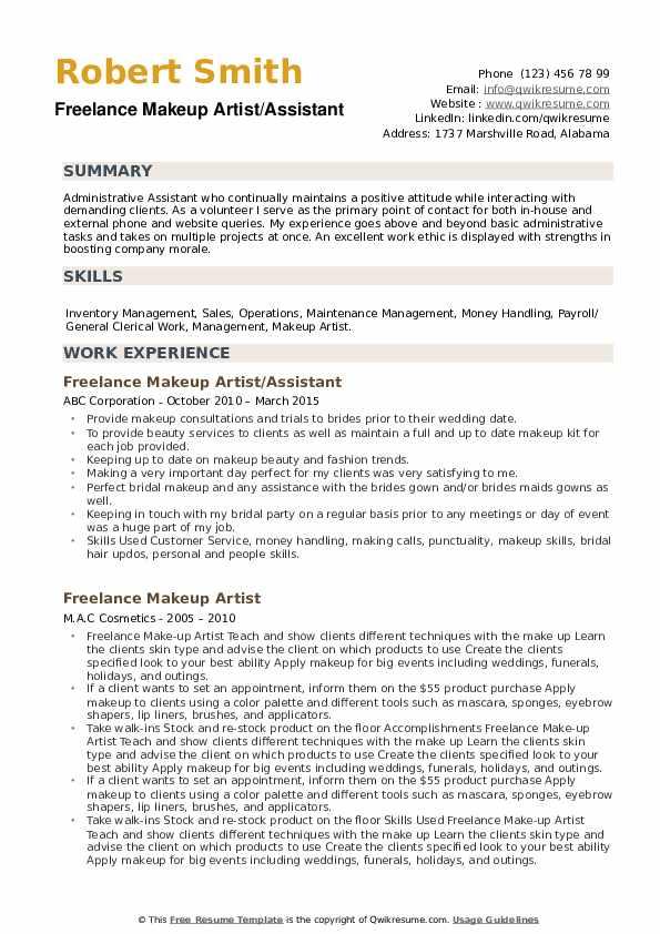 Freelance Makeup Artist/Assistant Resume Model