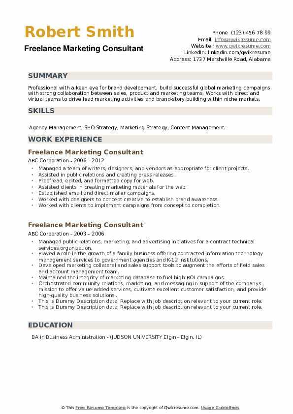 Freelance Marketing Consultant Resume example