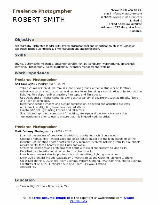 Freelance Photographer Resume Samples | QwikResume
