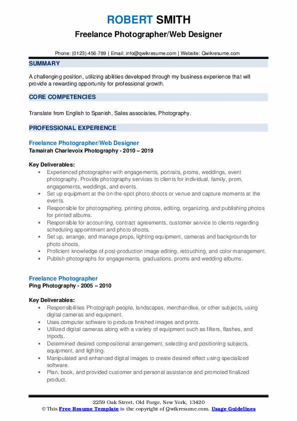 Freelance Photographer/Web Designer Resume Template