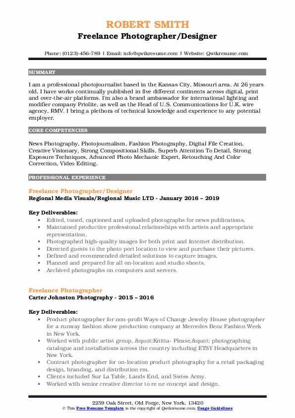 Freelance Photographer/Designer Resume Format
