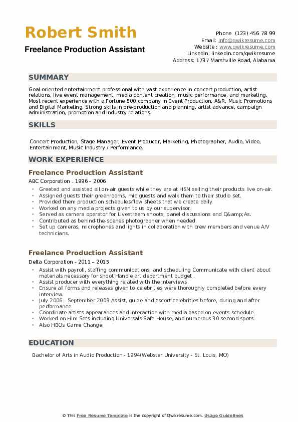 Freelance Production Assistant Resume example