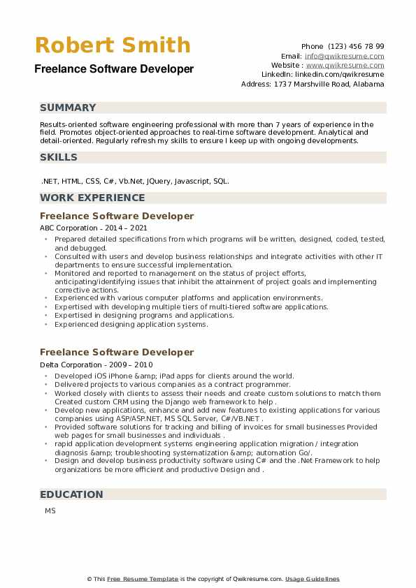 Freelance Software Developer Resume example