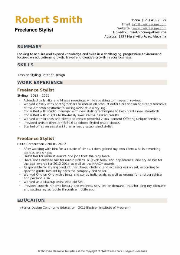 Freelance Stylist Resume example