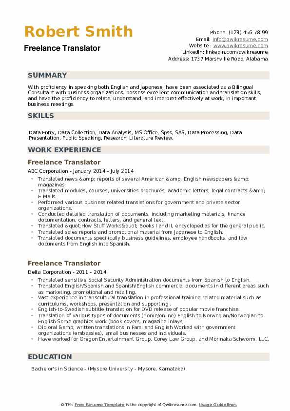 Freelance Translator Resume example