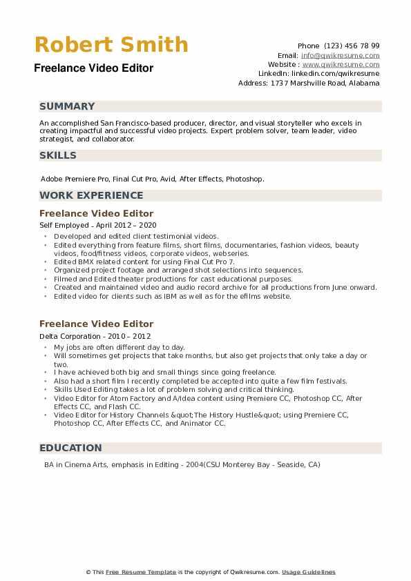 freelance video editor resume samples  qwikresume