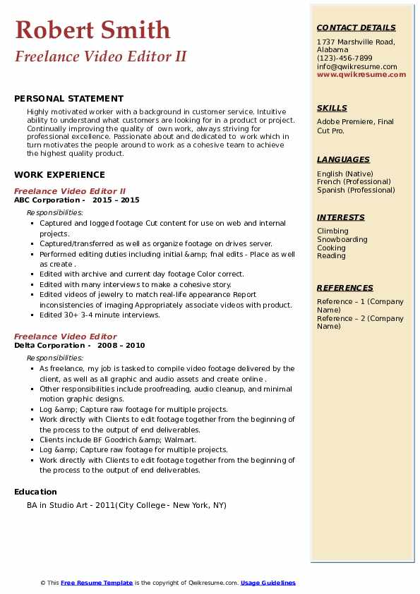 Freelance Video Editor Resume example