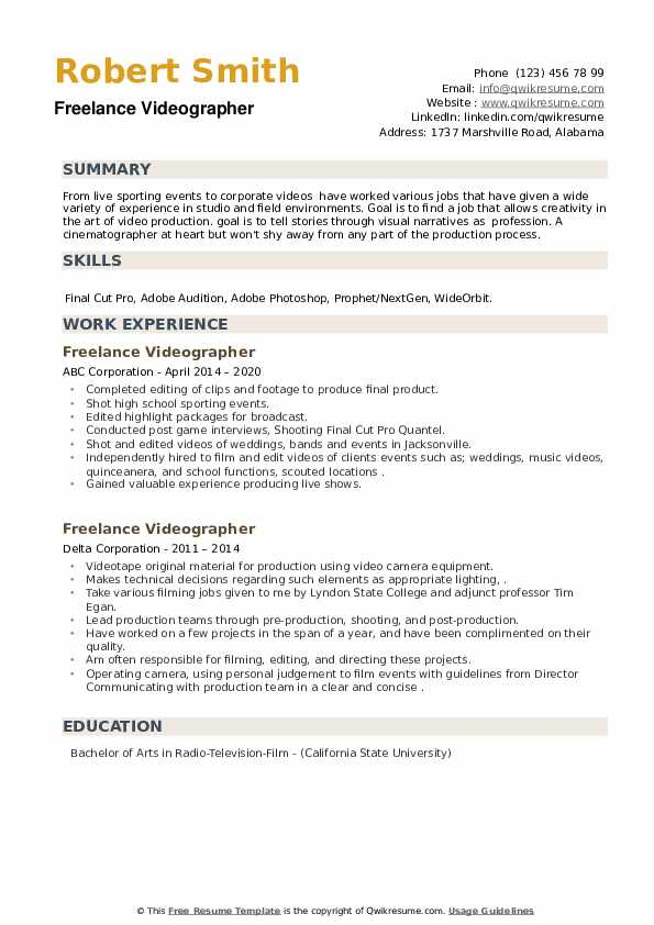 Freelance Videographer Resume example