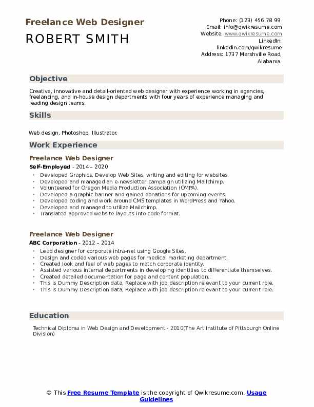 Freelance Web Designer Resume example