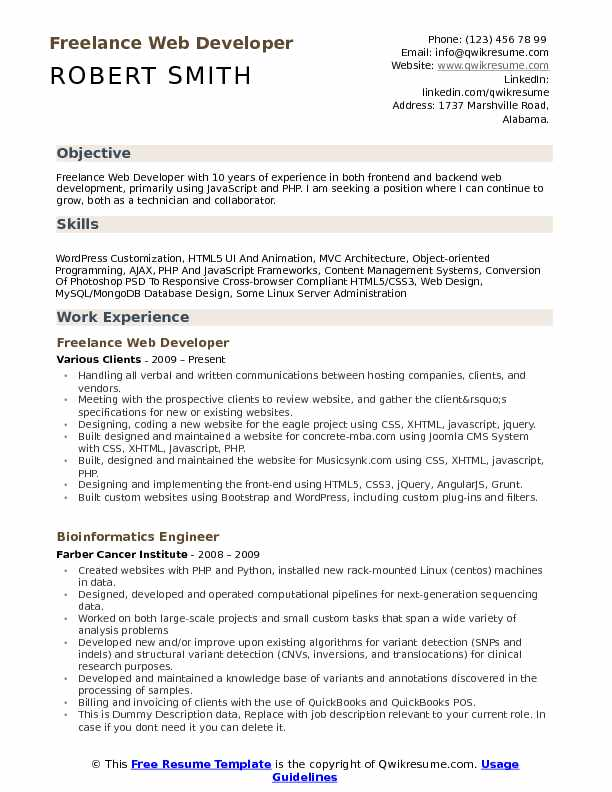 Freelance Web Developer Resume Samples | QwikResume