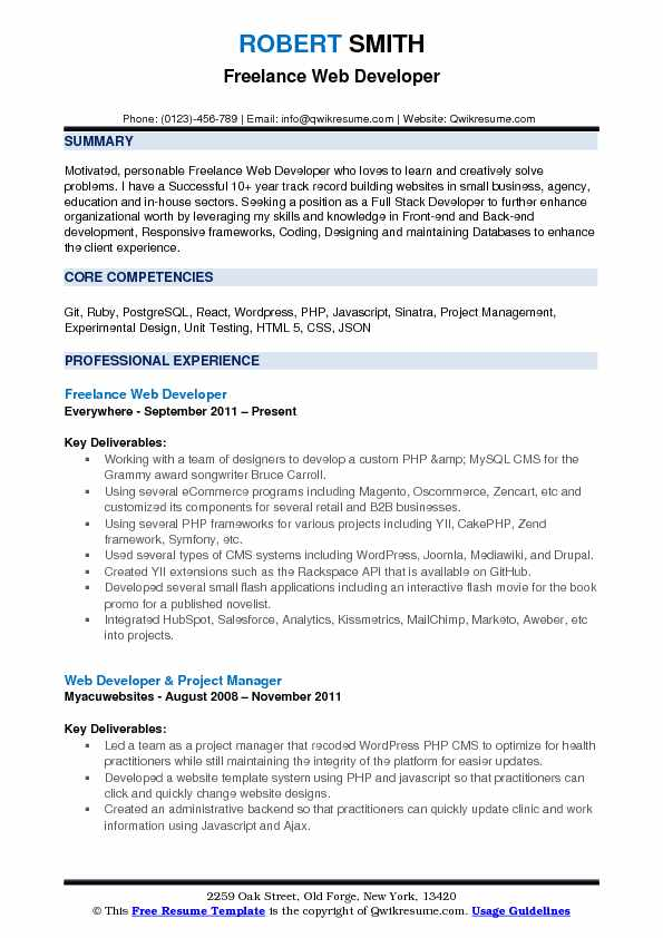 freelance web developer resume samples