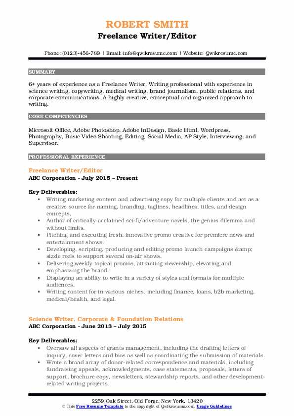Freelance Writer Resume Samples Qwikresume