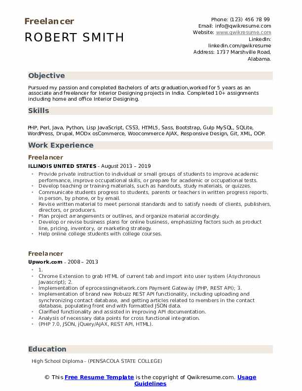Freelancer Resume Model