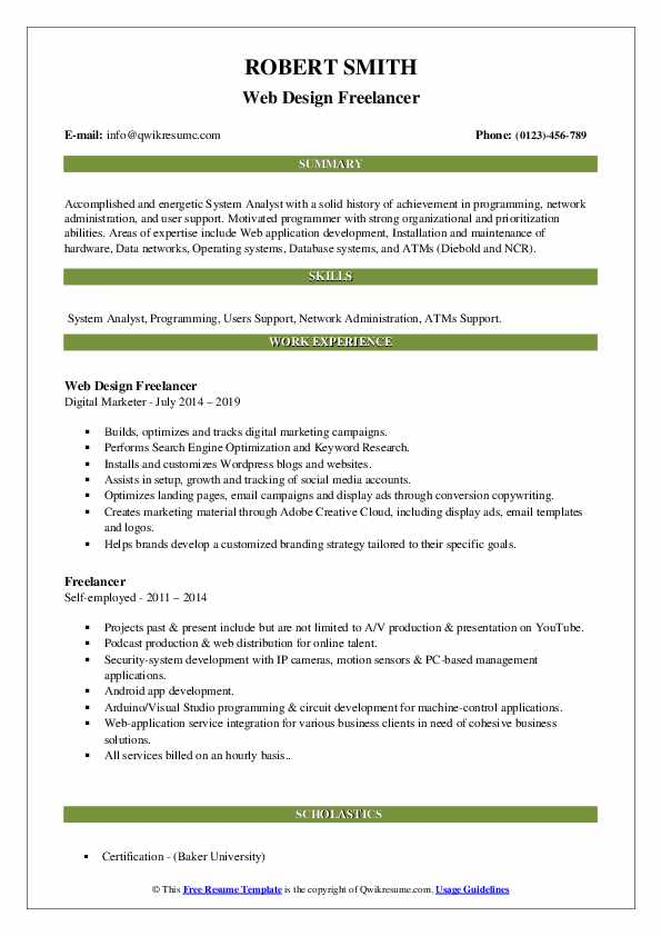 Web Design Freelancer Resume Sample