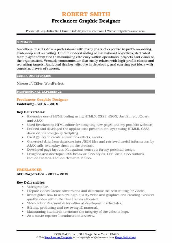 Freelancer Graphic Designer Resume Format