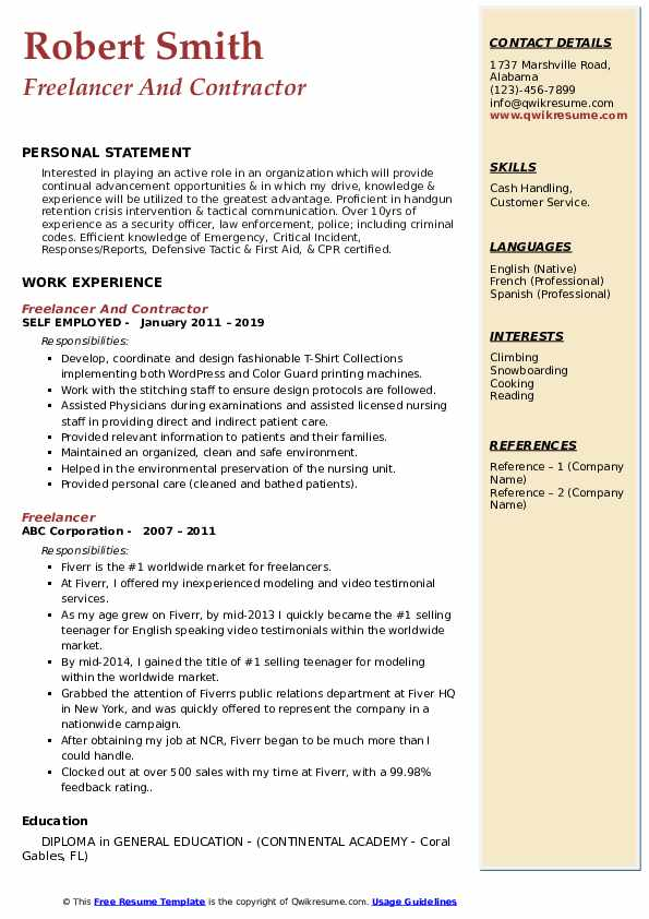 Freelancer And Contractor Resume Example