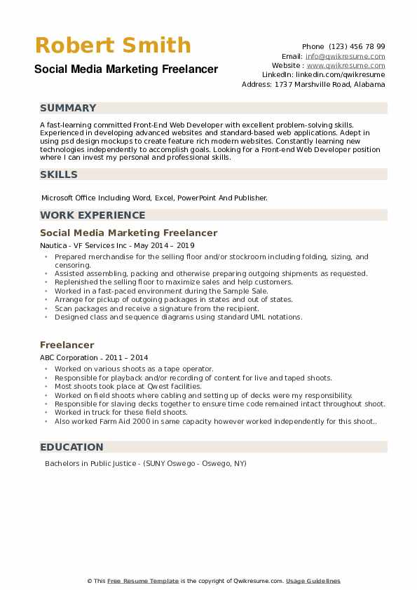 Social Media Marketing Freelancer Resume Sample