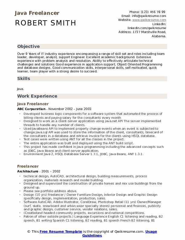 Java Freelancer Resume Template