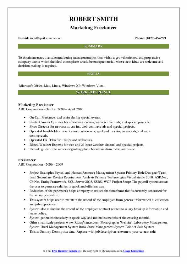 Marketing Freelancer Resume Model