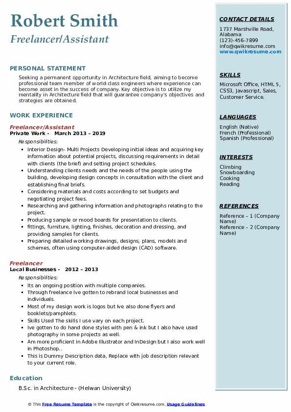 Freelancer/Assistant Resume Template
