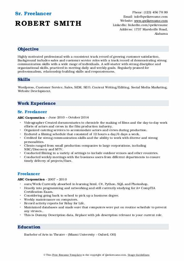 Sr. Freelancer Resume Example