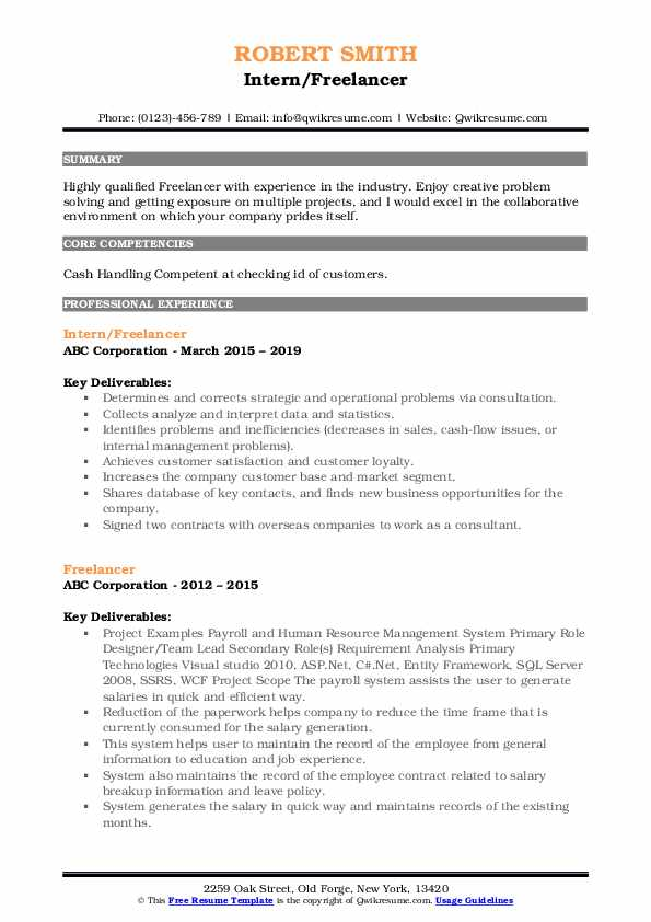 Intern/Freelancer Resume Model