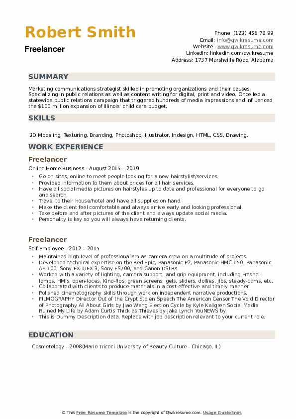Freelancer Resume example