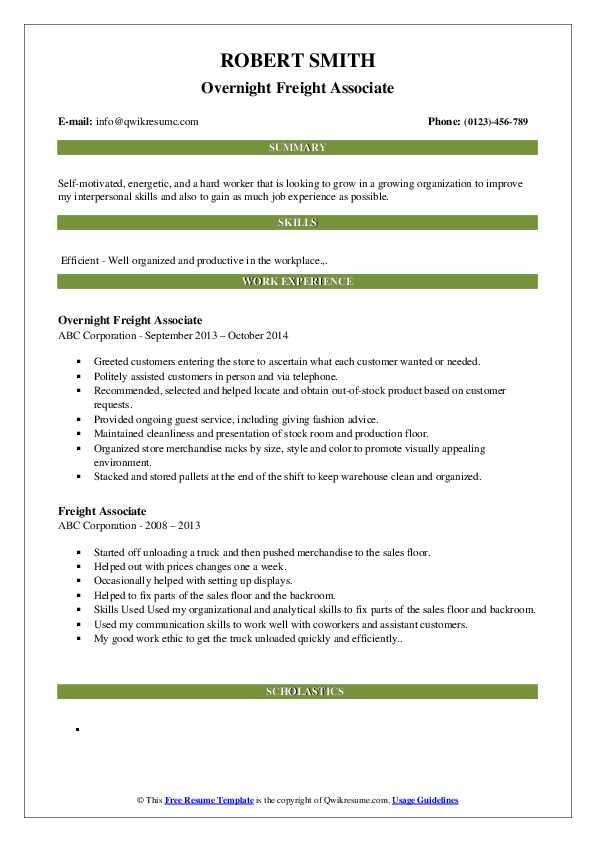 Overnight Freight Associate Resume Template