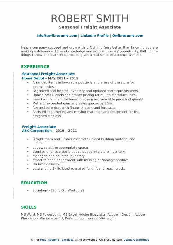 Seasonal Freight Associate Resume Template