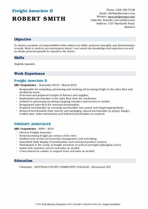 Freight Associate II Resume Format