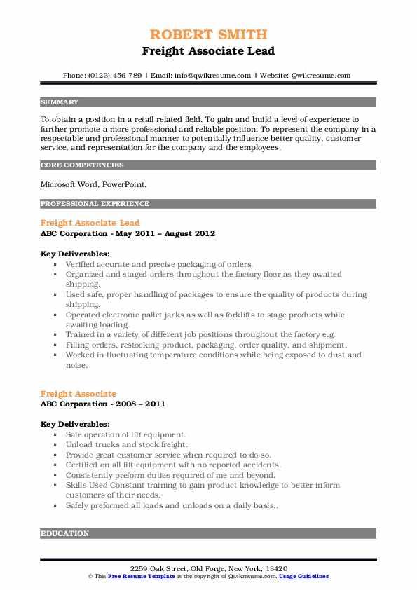 Freight Associate Lead Resume Model