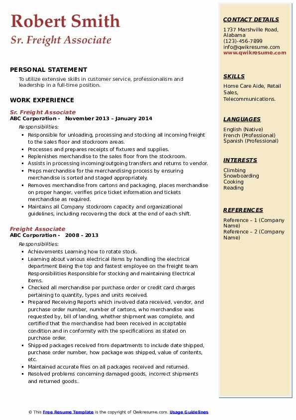Sr. Freight Associate Resume Model