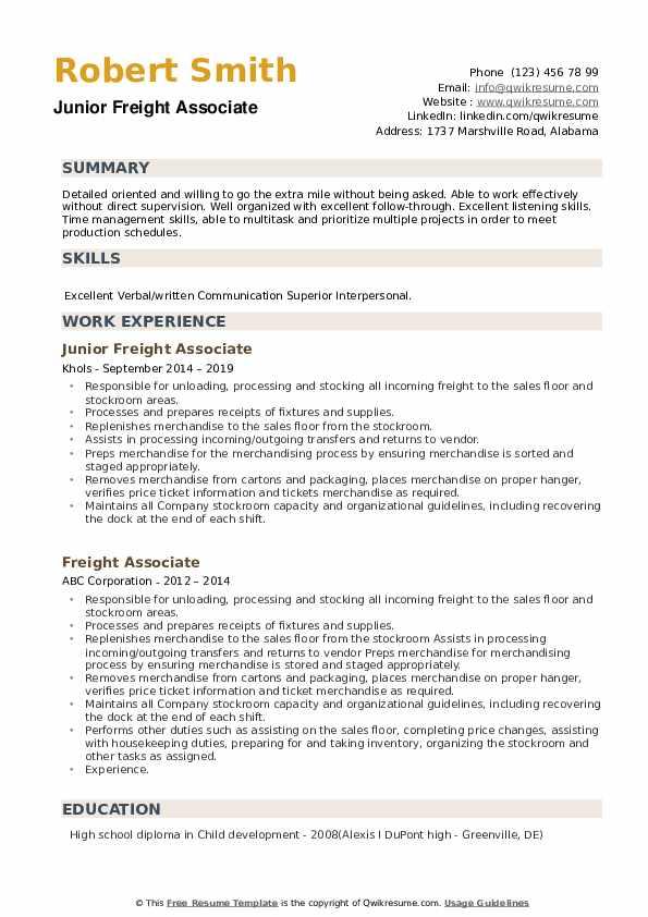 Junior Freight Associate Resume Example
