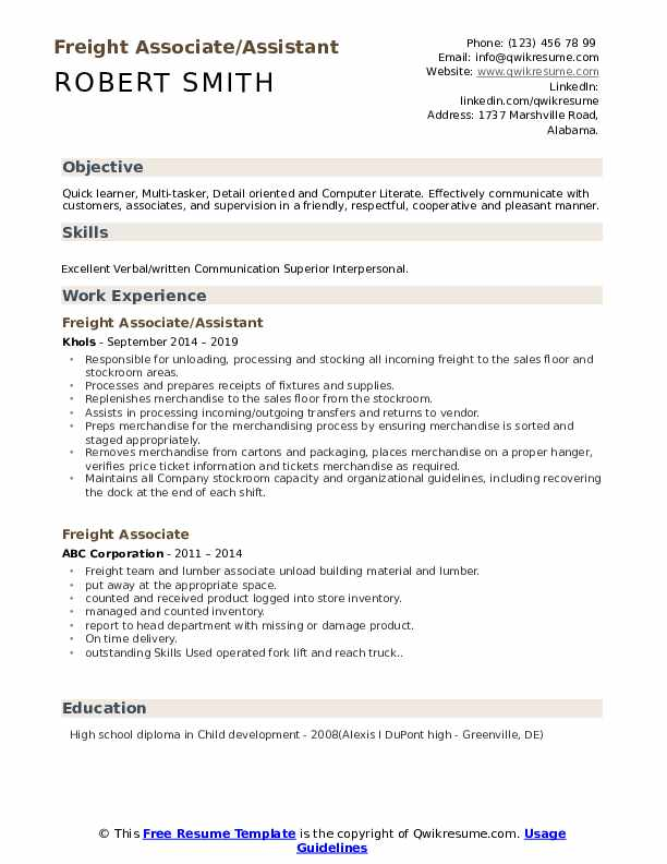 Freight Associate/Assistant Resume Format