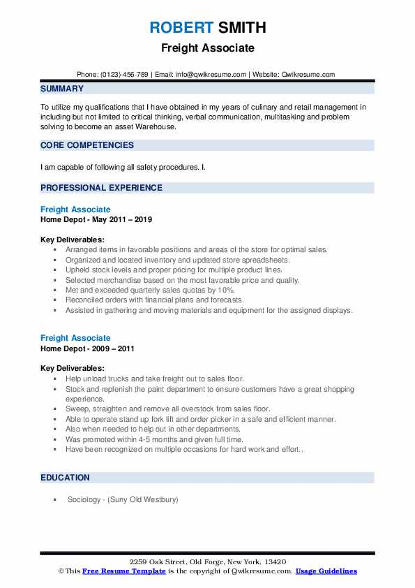 Freight Associate Resume example