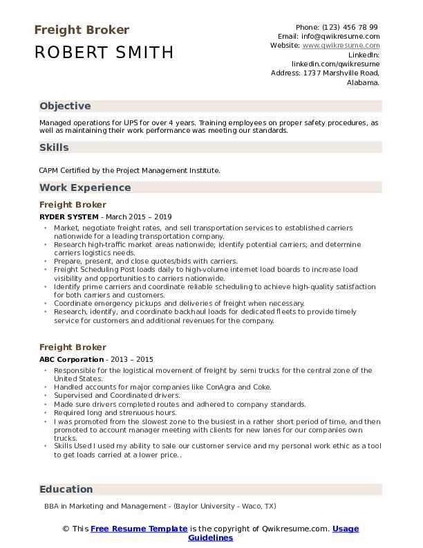 Freight Broker Resume Format