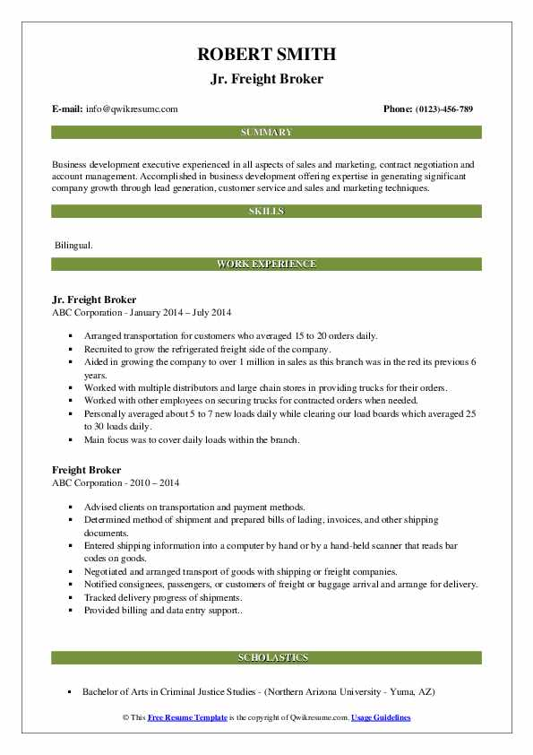 Jr. Freight Broker Resume Template