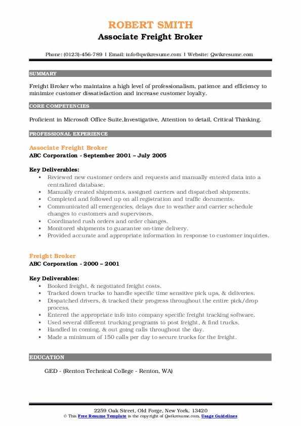 Associate Freight Broker Resume Model