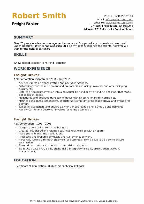 Freight Broker Resume example