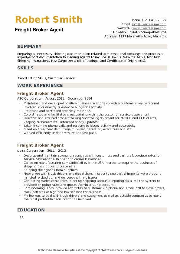 Freight Broker Agent Resume example