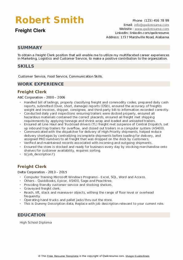 Freight Clerk Resume example