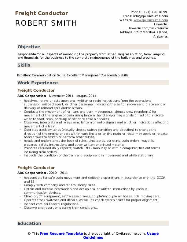 Freight Conductor Resume Model