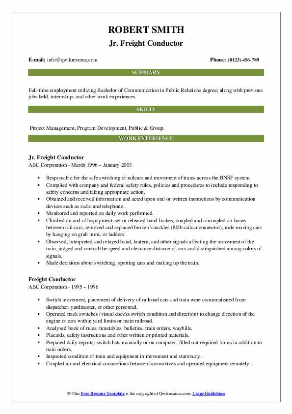Jr. Freight Conductor Resume Format